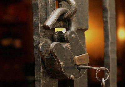 close up of a custom wine cellar lock