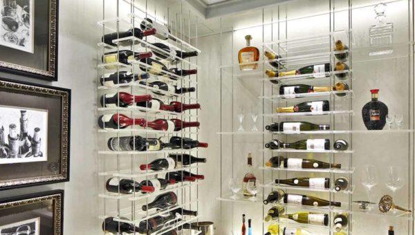 custom wine cellars with bright lights